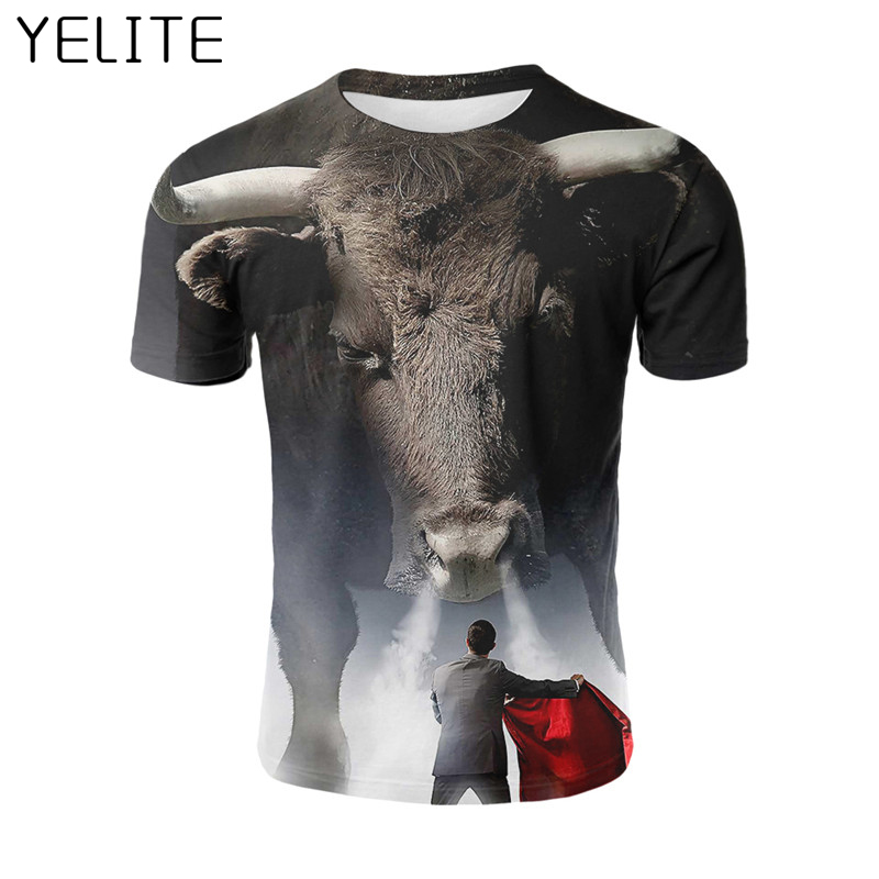 YELITE Bullfighting 3D   T  -  Shirt   Printed Funnuy Short sleeved Red cloth Tees Men Handsome   T     Shirt   2019 Tshirt Hot Sale Cool Homme