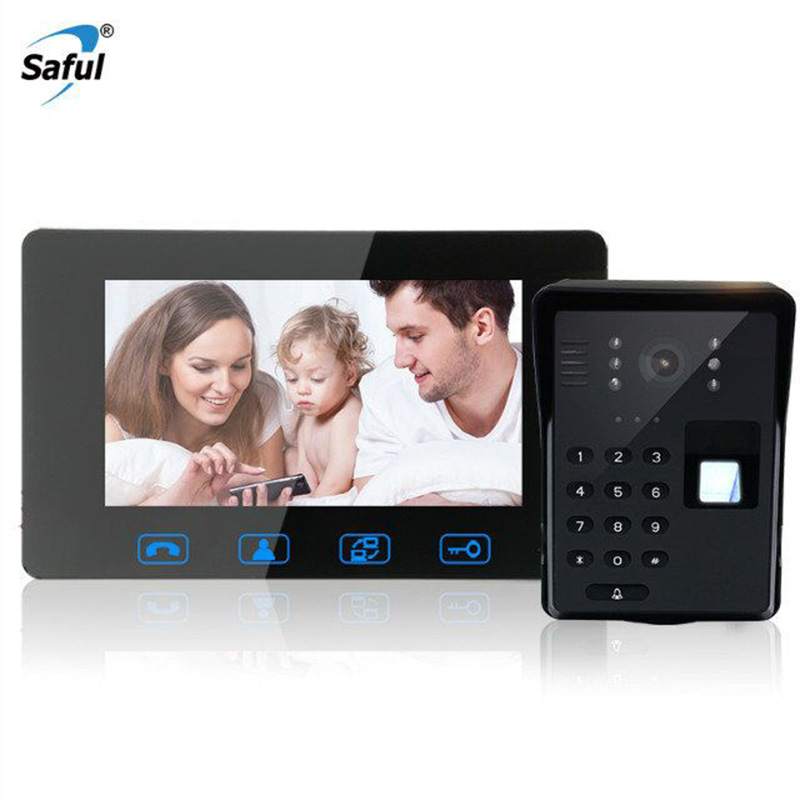 Saful 7 inch Waterproof video Intercom System with Fingerprint Keypad unlock Touch Key with Night Vision Wired Door Phone jeruan home 7 video door phone intercom system kit rfid waterproof touch key password keypad camera remote control in stock