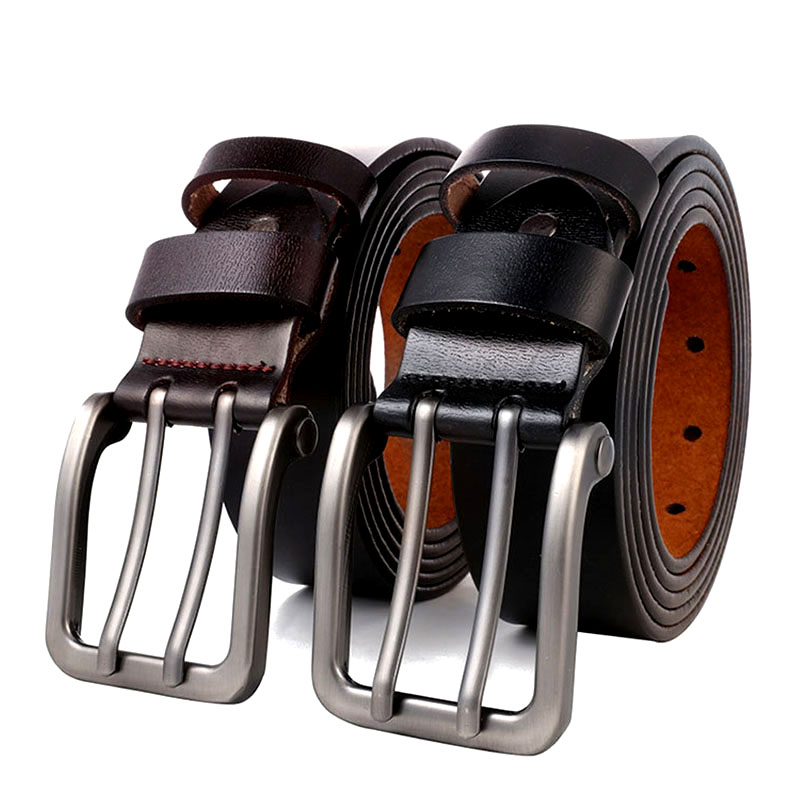 140 150 160 170 cm Large Size Men's Real Genuine Leather   Belt   for Jeans Male Metal Double Pin Metal Buckle Straps   Belt   Brown