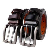 140 150 160 170 cm grande taille hommes véritable ceinture en cuir pour Jeans mâle en métal Double Pin métal boucle sangles ceinture marron