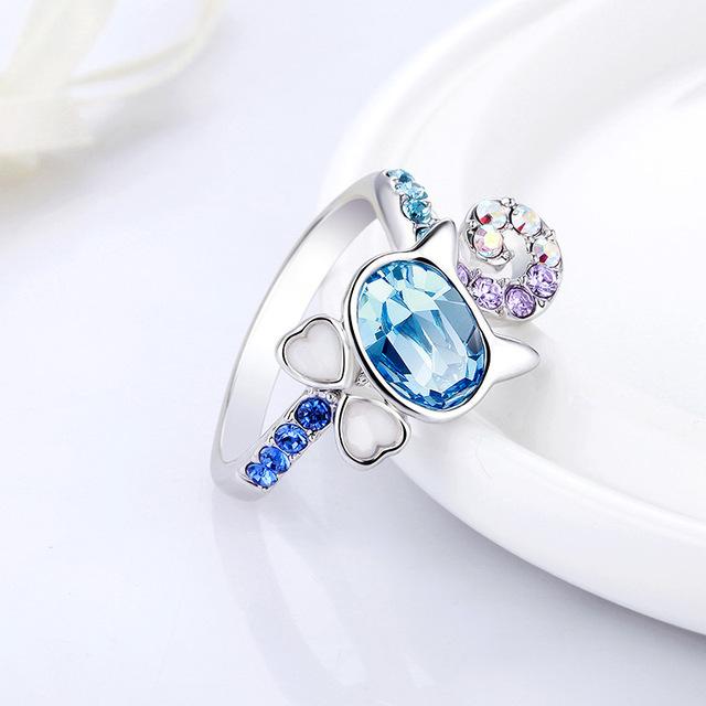 Trblietavý prsteň MAČKA Swarovski kryštál 2farby Ring CAT Pink Blue