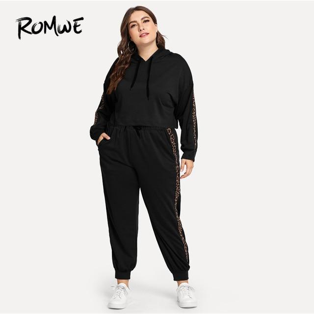 Romwe Спорт плюс размер черный леопардовый принт с капюшоном спортивный костюм женский тренировочный комплект для бега 2018 осенний тренажерны... 3