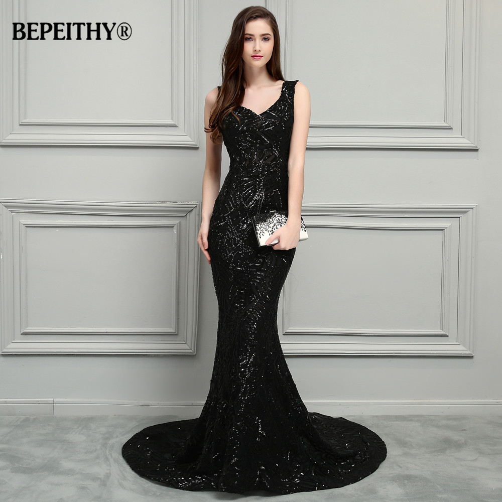 BEPEITHY New Mermaid Long   Prom     Dresses   2019 Reflective   Dress   Vestido Longo Court Train Sexy Open Back Evening Gowns Sleeveless