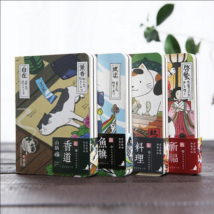 ''Japanese Cat ver.2'' Cute Monthly Planner Agenda Study Notebook Pocket Diary Freenote Travel Journal Stationery Gift