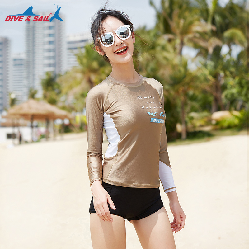 0d3228171e Women s Split Rashguard Long Sleeve UV Protection Surfing 2 Piece Tankini  Swimsuit Swimwear Set Rash Guard Top  Bottom Champagne