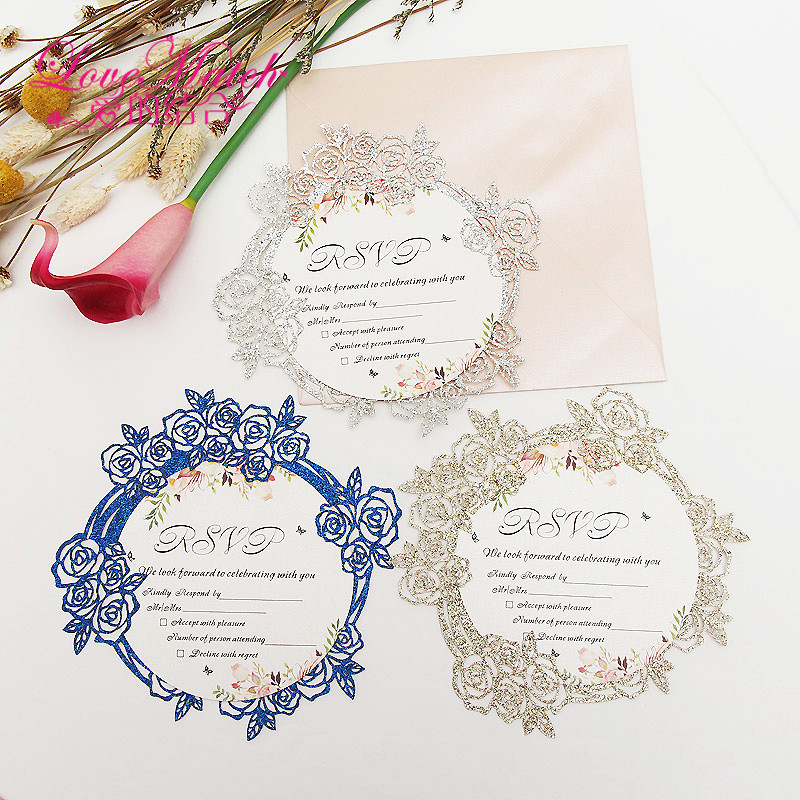 Us 7 28 15 Off 10sets Flower Shape Glitte Paper Invitation Card Party Wedding Birthday Rsvp Card Table Place Name Card For Guest Wedding Se In Cards