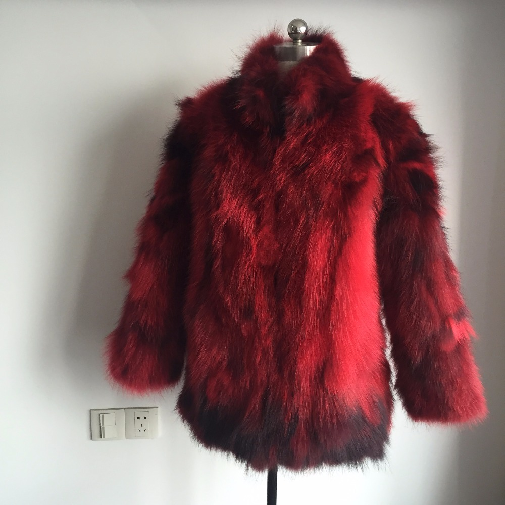 2019 Factory Outlet Vintage Style Standard Collar Natural Raccoon Fur Coat Women Full Skin Real Fur Jacket TSR164