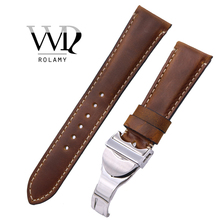 Rolamy 22mm Wholesale Durable Genuine Leather Replacement Wrist Watchband Strap Belt Loops Band Bracelets For IWC Tudor Seiko