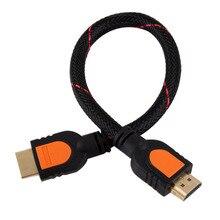 1 足短い HDMI ケーブル hd テレビ 3D 1080 1080p 1 フィート HDMI 1.4 編組ゴールド