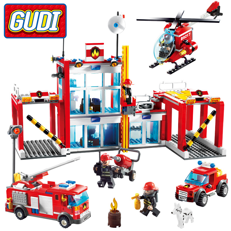 все цены на GUDI City Fire Station Blocks 874pcs Bricks Helicopter Fire Truck Building Blocks Sets Legoings Blocks Toys For Children