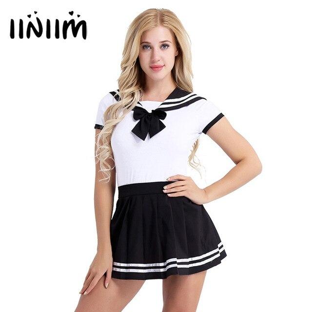 Bayan kızlar tatlı kısa kollu basın Crotch Romper Mini pileli fermuar kapatma etek Cosplay kostümleri cadılar bayramı partisi için