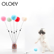 1PC Pet Interactive Toy Funny Colorful Soft Hairy Ball Tease Cat Stick for Dogs Playing Products 2019 New