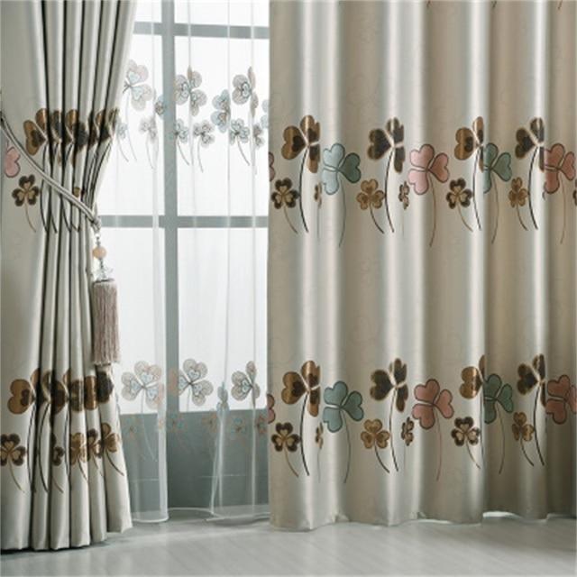 Modern High Grade Jacquard Blackout Curtains Blue Pastoral