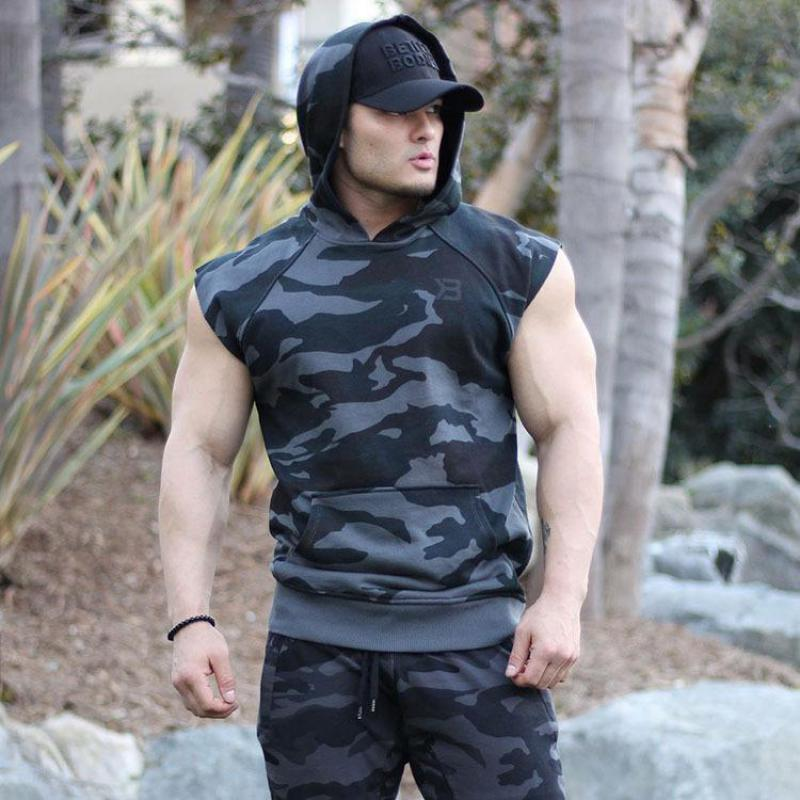 Summer Men Running Vests Camo Quick Dry Compression Hooded Gym Tank Top Sportswear Fitness Sleeveless T shirts Sport Running Ves