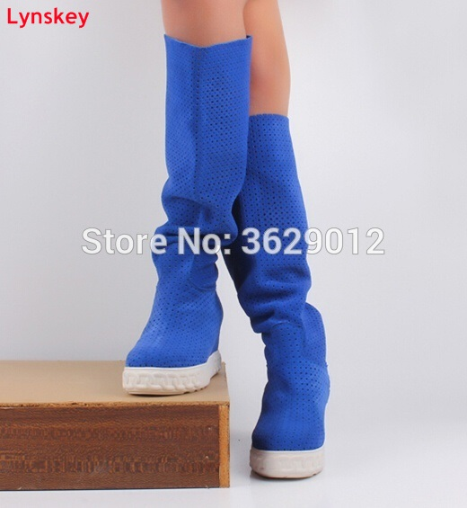 Lynskey New Fashion Women Style Height Increasing Round Toe Knee High Boots Blue/Red/Black Suede Platform Lady Slip-on Boots смеситель для раковины am pm l f5382100