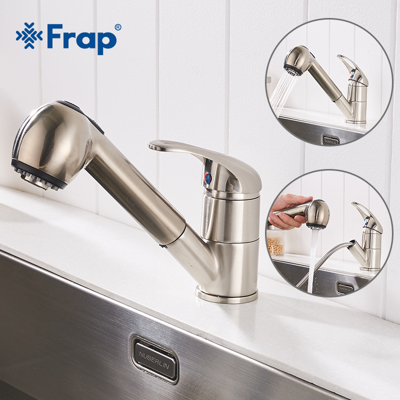 Frap New Hot And Cold Water Kitchen Faucet Pull Down Kitchen Faucets Brass Swivel Pull Out Spray Sink Mixer Tap Water Tap Y40064