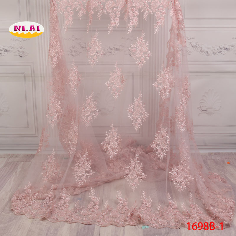 Nigerian Lace Materials African Pink Fabric 3D Flower African Laces Applique Embroidered Lace Fabirc MR1698B