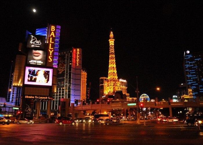 Las Vegas Casino City skyline Night backdrop Vinyl cloth High quality Computer printed party photo studio background