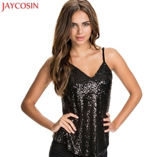 JAYCOSIN Sexy Tank Tops Women sequins V Neck Female Camisole backless for Black Solid Women Camis Tops Fitness feminino 2017 #30