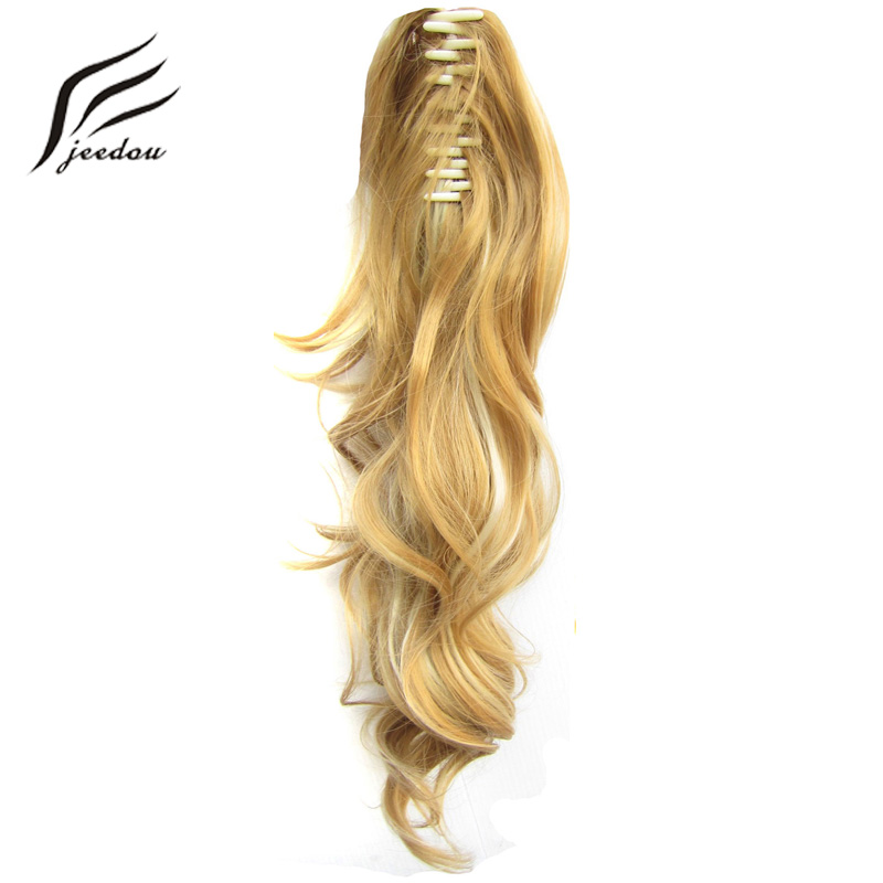 """jeedou 24"""" 60cm 160g  Synthetic Wavy Long Gradient Ponytails Hair Extensions Claw Ponytail Black Red Blond Pure Color Hairpieces"""