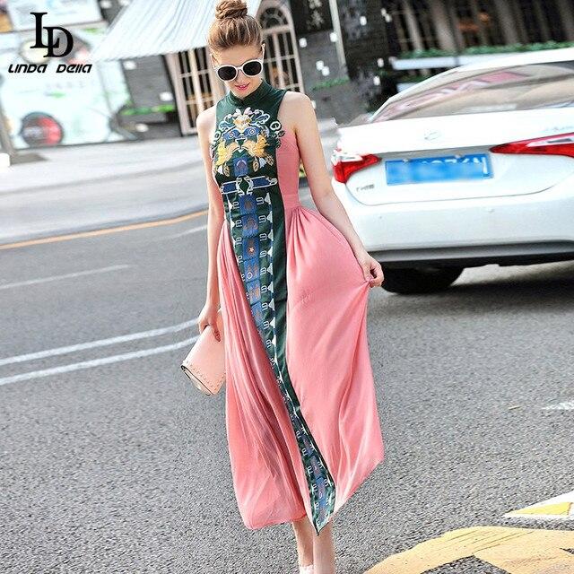 Vintage в Китайском Стиле Slim Long Dress 2016 Летом Новая Мода Вышивка Пят Dress For Women