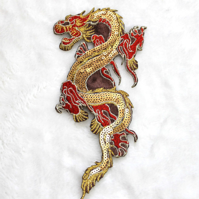 7102 Embroidered Sequin Dragon Sew Iron Patches Applique