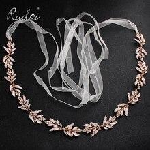 Silver Rhinestone Wedding Belt Bridal Sashes Gold Crystal Ribbon Belt Sashes Waistband Diamond Wedding Decoration WS J043
