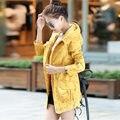 2016 New Fashion Women Trench Coat Medium Long Elegant Hooded Outwear Slim Waist Female Trench  Outwear Causal Windbreaker B839