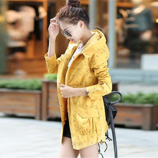 2016 New Fashion Women Trench Coat Medium Long Elegant Hooded Outwear Slim Waist Female Trench  Outwear Causal Windbreaker B839