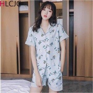 Image 1 - Сексуальный хлопковый пижамный комплект, новый женский топ + шорты, пижама, Женский Пижамный костюм из 2 предметов, ночное белье, Ночное Белье для сна, нижнее белье для отдыха
