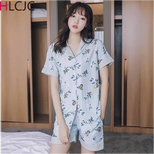 Sexy Cotton Pajamas Set New Women Top+Shorts Sleepwear Pajamas Suit Female 2 Piece Sleepwear Nightwear Sleep Lounge Underwear