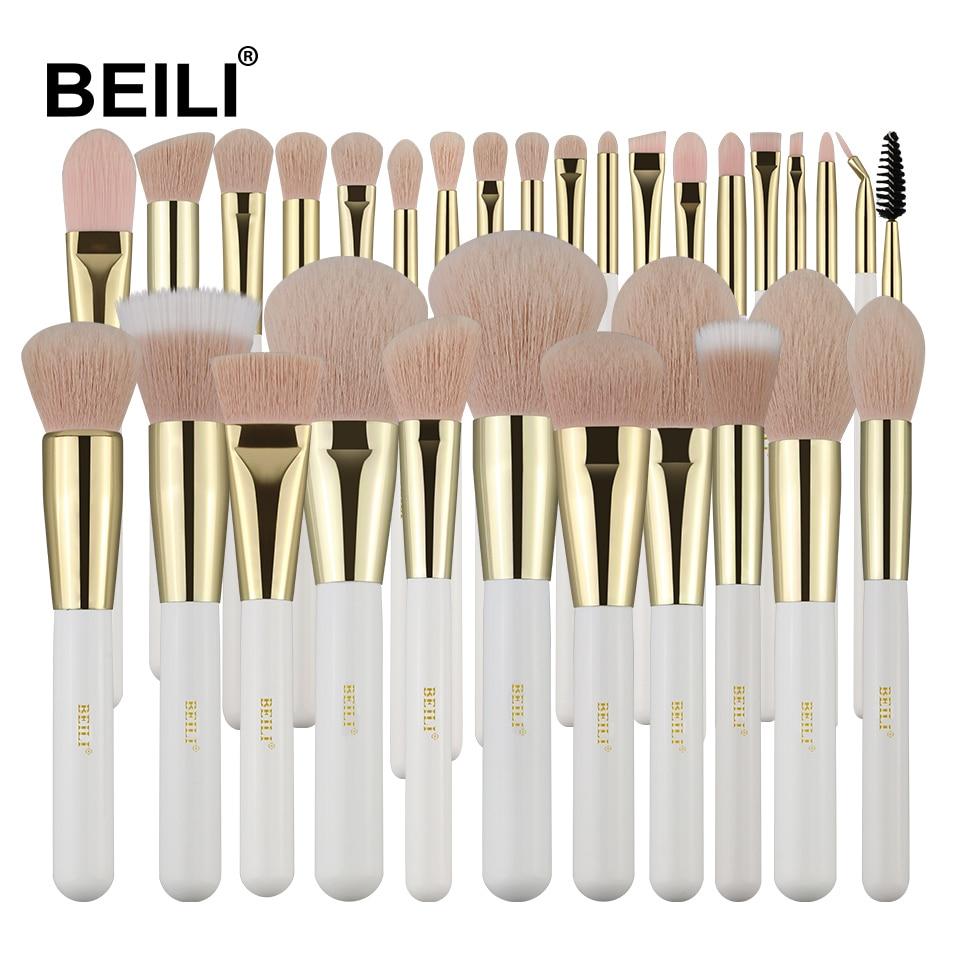 BEILI Pearl White Professional Makeup Brushes set Nano Wool Fiber Pink Hair Gold Ferrule Foundation Eye