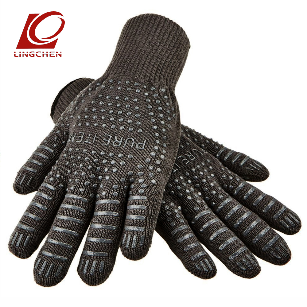 Gray color BBQ Gloves With No-Slip Silicone Grips, Oven Mitts, Fire proof Gloves, Baking, Cooking,Grilling,Kitchen Gloves new design silicone bbq gloves grilling bbq gloves heat resistant gloves oven mitts en 407