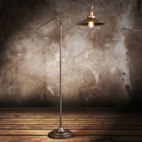 Loft Industrial American Style Long Arm LED Floor Lamp For Warehouse Study Living Room Bedroom Bedside Flooring Movable Lighting