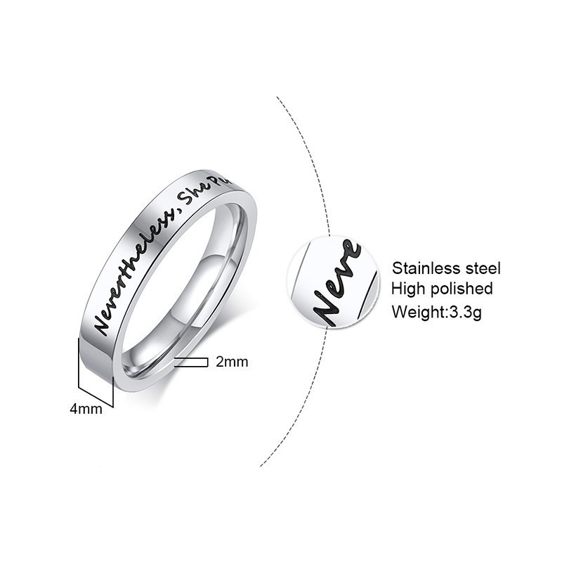 4mm Friendship Silver Women 39 s Stainless Steel Ring Best Friends BFF Nevertheless She Persisted Statement Jewelry in Rings from Jewelry amp Accessories