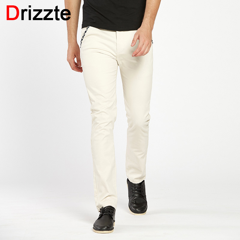 Drizzte Marque Hommes Coton Stretch Jeans Doux Chino Pantalon Occasionnel  robe Pantalon Taille 33 34 36 38 Kaki Beige Noir bleu ae41f9c05fb9