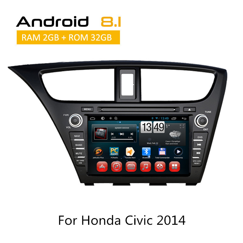 Android 8.1 Car DVD Player For Honda Civic Hatch Back 2013 2014 2015 Octa Core Auto Radio iPod Bluetooth SWC AUX GPS Multimedia