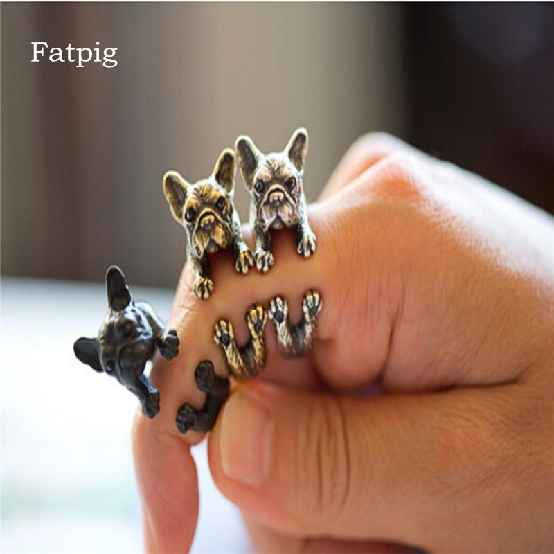 Жирная свинья модные Кольца Винтаж ручной Французский бульдог животных  Обёрточная бумага Кольца для Для женщин Девушка 321356a5c80