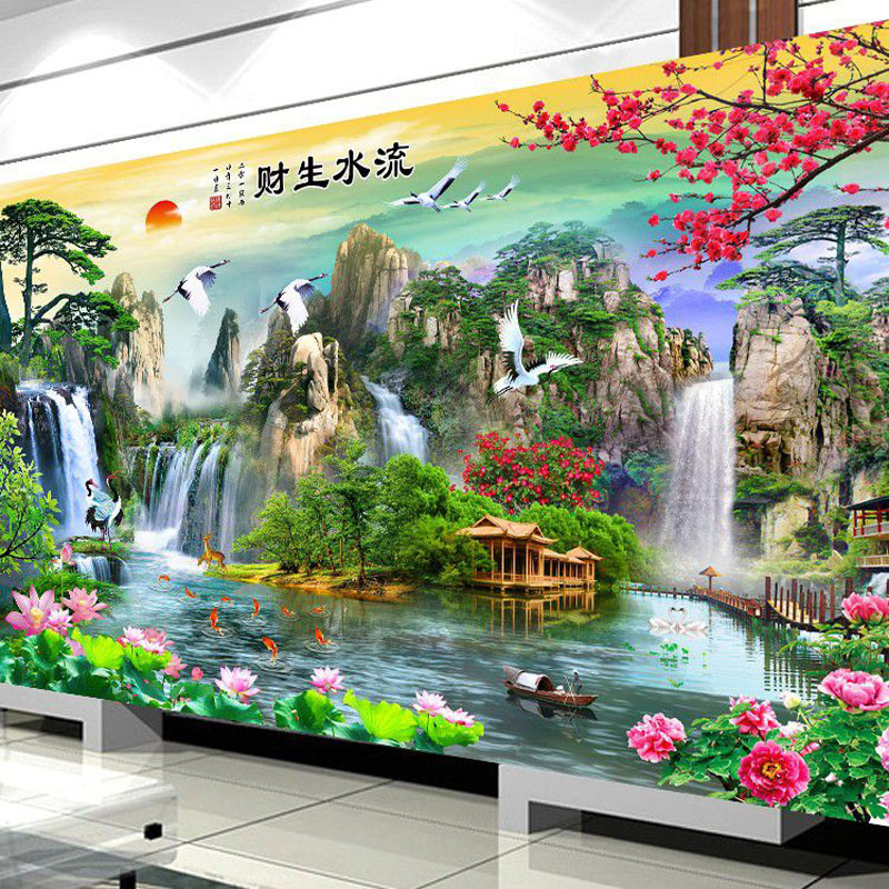 QIANZEHUI Needlework,DIY Picturesque Living Room Landscape Cross Stitch,Sets For Embroidery Kit Full Embroidery Cross-Stitching