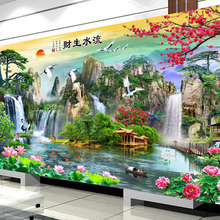 QIANZEHUI Needlework,DIY picturesque living room landscape Cross stitch,Sets For Embroidery kit Full embroidery Cross Stitching