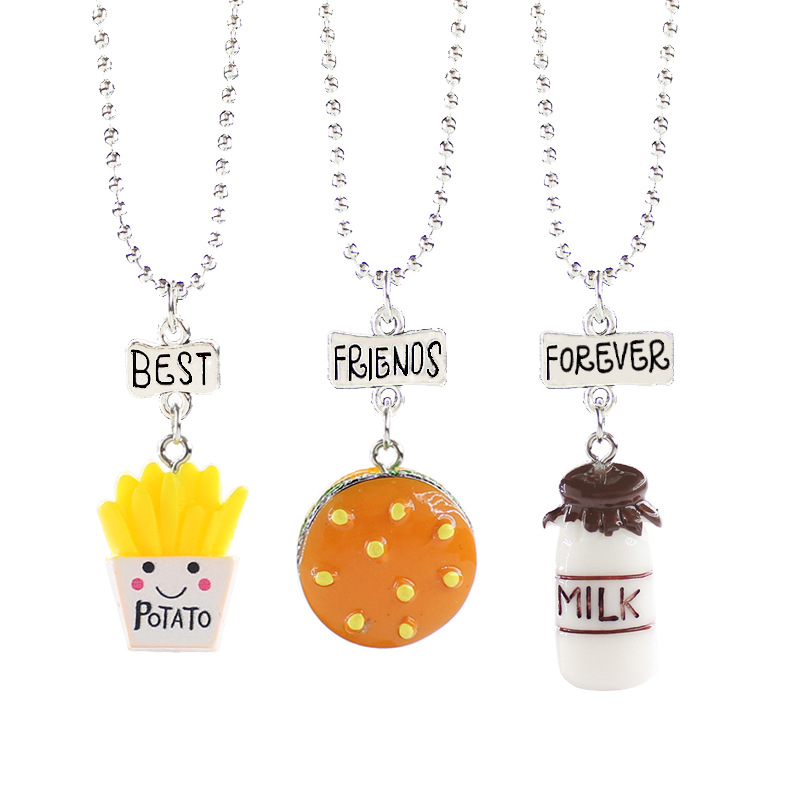 Brilliant Fooderwerk Jewelry 3pcs/set Children's Necklace Resin Solid Simulation Food Fries Burger Milk Best Friend Necklace Pendant