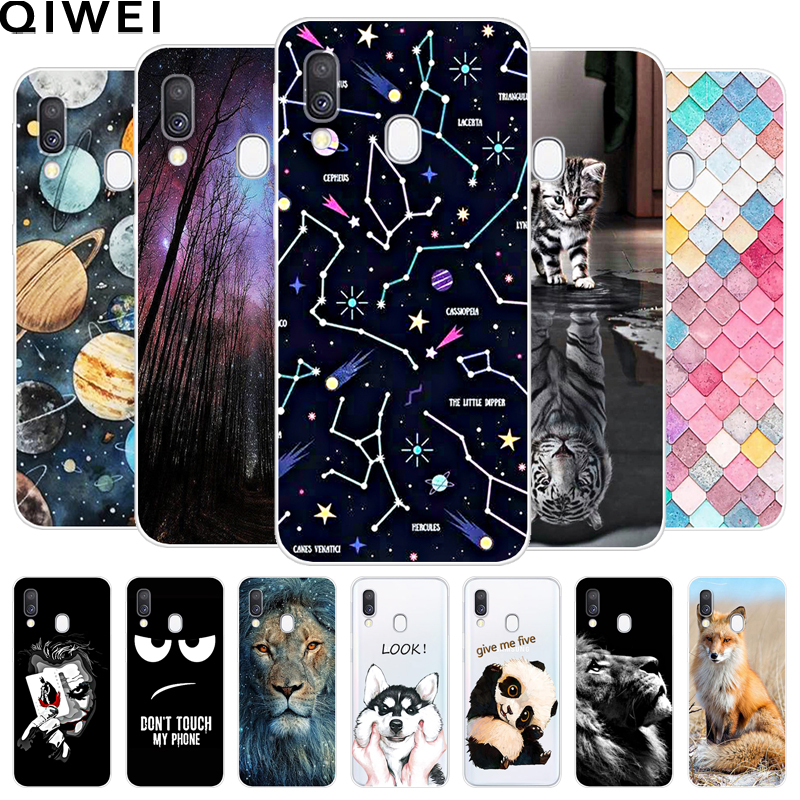 Soft TPU Silicon Case For Samsung Galaxy A40 Cases Cartoon Animal Painted Back Cover Coque For Samsung A40 A 40 Phone Bumper 5.9