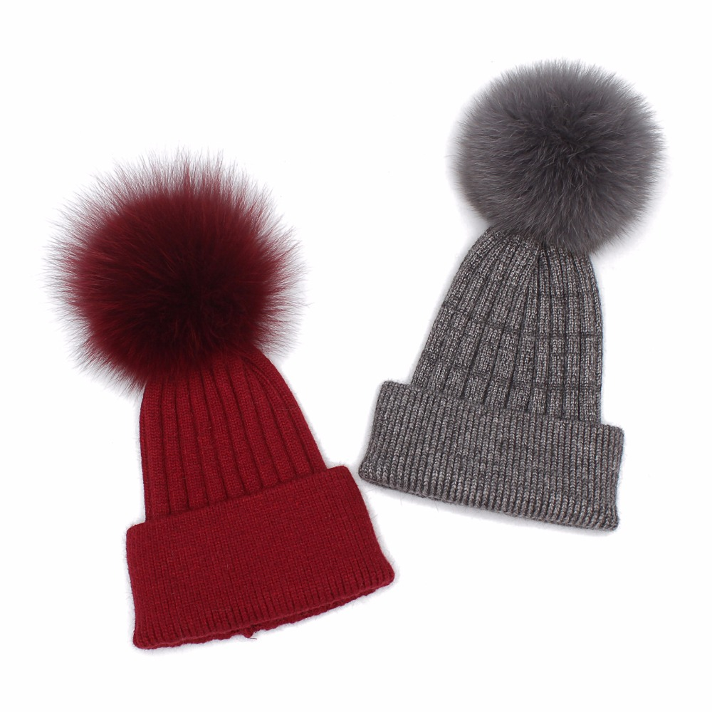 Kids Winter Hats 2017 New Real Fox Fur Pompoms Knitted Beanies Hat For Children Boys Girls Solid Color Skullies