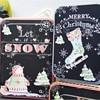 4 Pcs Set Printed Christmas Square Cylindrical Cartoon Tin Box Santa Claus Receive Box Store Content