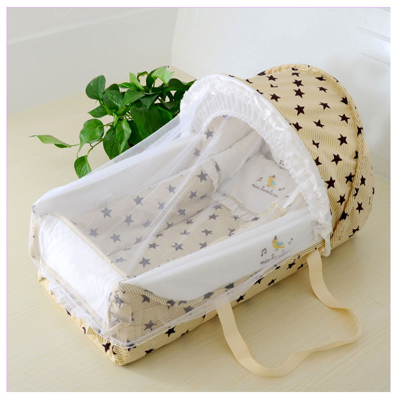 Quality Baby Sleeping Basket Portable Newborn Cradle Bed with Awning Mosquito Net Portable Bassinet for Newborn Car Seat Cradle