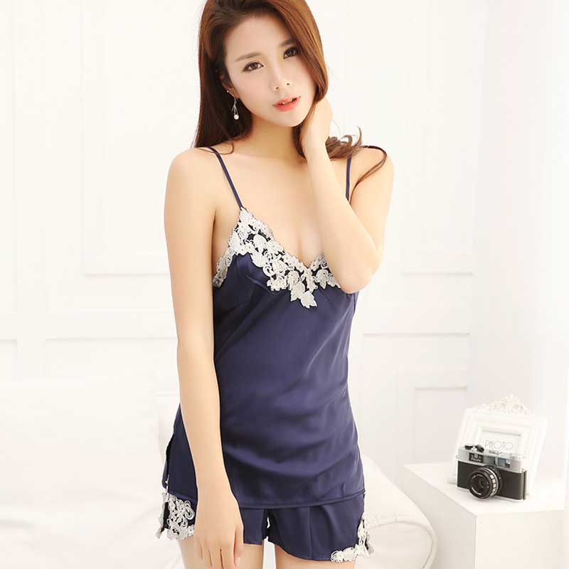 Latest Multicolor Spaghetti Strap Floral Sexy nightgown for women/female, Comfortable Top Short 2pcs sleepwear set Lingerie 808