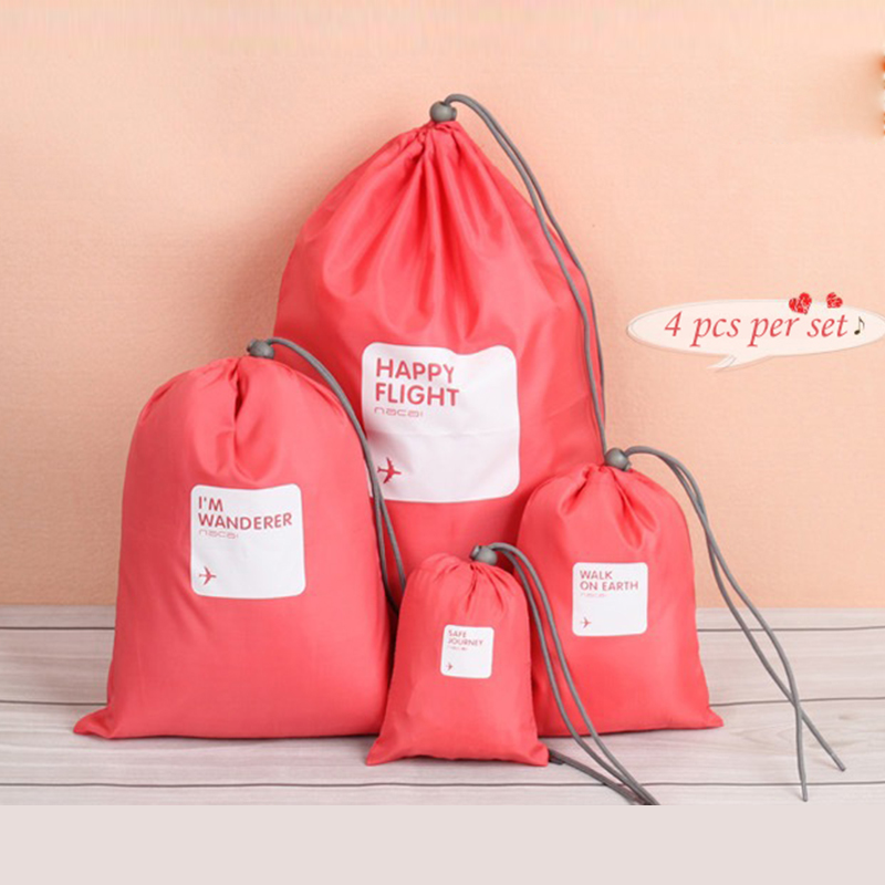 4pcs set Fashion Drawstring Bag Water Resistant Durable Nylon Drawstring Pouch Portable Travel Packing Bags 5