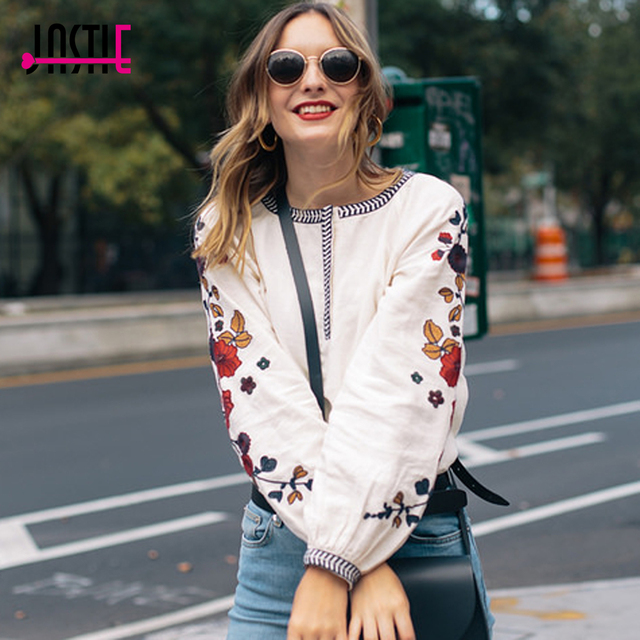 0b7ed49d0b0 Jastie 2018 Spring Women Shirt Floral Embroidery Blouse O-Neck Long Sleeve  Loose Shirts Blouses Casual Shirt Top Blusas Pullover