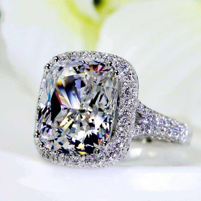 Rozmiar 5 11 pełne 192 sztuk Tiny cyrkonia 10ct duże sztuczne kamienie AAA CZ 14kt białe złoto wypełniony Wedding Pave kobiet zespół pierścienie miłośników w Pierścionki od Biżuteria i akcesoria na  Grupa 1