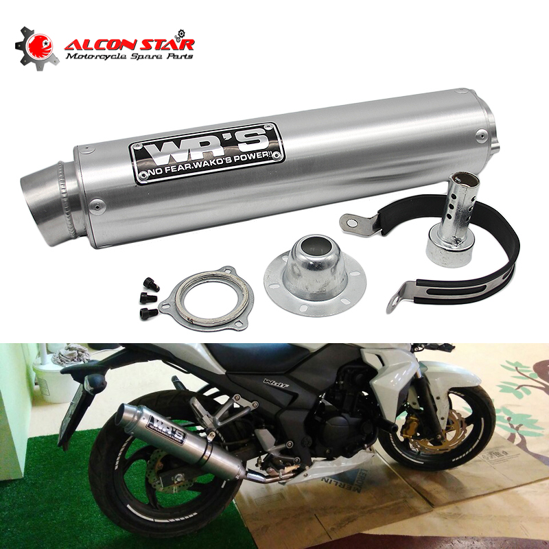 Alconstar Universal Modified Motorcycle Exhaust Pipe WRS Exhaust Muffler For VFR400 CBR400 CB400 CBR250 R6 Black Yellow